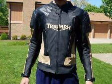 New Mens Triumph Black/Tan Motorcycle Racing 100%Cowhide Leather Jacket.