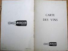 Champagne Mercier, Epernay 1940s Advertising Wine Menu