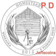 2015 P&D Homestead National Park QUARTER Nebraska New U.S. Mint State 2 Coins PD