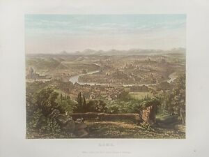 1878  Panoramic Birds-eye View of Rome Original Antique by William Collins