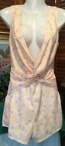 TOBY HEART GINGER designer peach cross body plunge neckline jumpsuit Shortalls 8