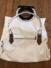 Michael Kors White Bag With Round Tortoise Shell Handle W/ Shoulder Strap