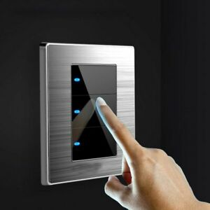 1 2 3 Gang Home Light Switch Wall Brushed Socket Type Stainless Steel Mirror Led