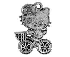 Lot de 10 breloques hello kitty sur vélo en métal argent vieilli,perles-bc237