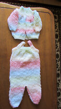 multi coloured 2 piece Dungaree set hand knitted with james brett 0 - 3 months