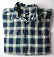 Patagonia Organic Cotton Large Short Sleeve Button Down Navy Orange Plaid Shirt
