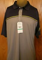 * Men's L Large Callaway Gray & Navy Blue Short Sleeve Casual Golf Polo Shirt