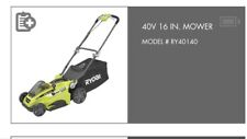 """Ryobi COMBINATION - 40V Lithium Ion 16"""" Mower + 40V lithium Ion Weed Trimmer!!"""