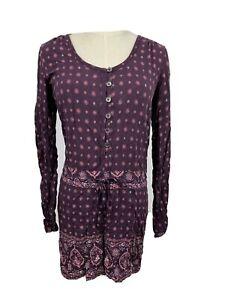 RIP CURL Womens Button Up BOHO Hippie Gypsy Floral Plum Jumpsuit Playsuit Size 6