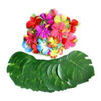 60 Pcs Tropical Party Decoration Supplies 8 inch Tropical Palm Monstera Lea M7C4