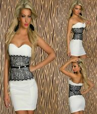Sz M 10 12 White Strapless Black Lace Formal Cocktail Party Slim Fit Dress