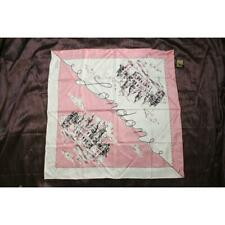 """Burberry London Landscape Silk Square Scarf Pink w White NWT MSRP $450 34"""" x 35"""""""