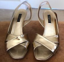 94dd57339 Louis Vuitton Gold Patent Leather Criss-Cross Open-Toe Slingback Sandals