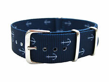 HNS ZULU 20mm/22mm Double Graphic Printed Anchors Navy Nylon G10 Watch Strap