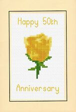 50th Wedding Anniversary, Golden Yellow Rose, Cross Stitch A6 Card Kit 4x 6 14ct