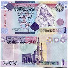 Libya Moammar Gadhafi Money P71 1 Dinar 2009 UNC Gaddafi Banknote