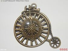 steampunk goth brooch badge bronze penny farthing compass pirate larp cosplay