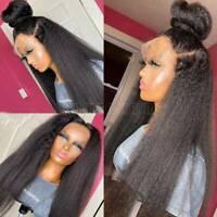 Glueless Yaki Kinky Straight 360 Lace Front Wig Remy Peruvian Human Hair Wig Zyy