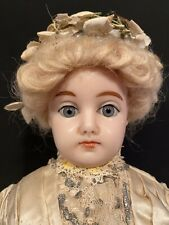 17� Antique German Wax Over Papier-Mâché Fashion Lady Doll Bride In Orig Gown