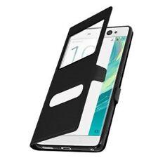 Etui Housse Coque Pochette View Intérieur Silicone Noir Sony Xperia E5