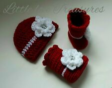 NEW Newborn Baby Girl Flower Hat and Booties Crochet Photography Prop Gift