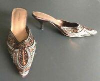 Amanda Smith Brown Metallic Sequin Beaded Boho Kitten Heel Mule Shoe Size 7 M