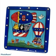 Catzilla 2003 Trivet Candace Reiter Cat Lover Patriotic Hot Air Balloon Ceramic