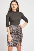 Ladies Grey/Black Leopard Print LaceUp Side.RearZip Skirt. Size 8-10.10-12.12-14