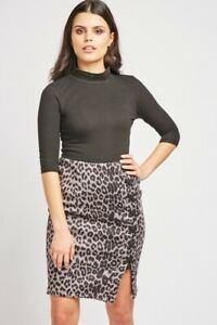Ladies Grey/Black Leopard Print LaceUp Side.Rear Zip Skirt. Size 8-10.10-12.