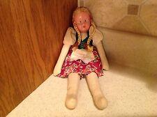 "Vintage Poland 11.5"" Tall Celluloid Face Girl Doll Braided Blond Hair Cute"