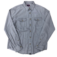 Untuckit Double Front Pocket, Solid Button Up Shirt, Size Large, Gray, Classy