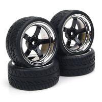 Run Flat Tires&Wheel RC 4Pcs 12mm Hex For HSP HPI  1:10 On-Road Model Car
