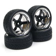 4X Rubber Tires Wheel Rim PP0104+PP0150 For HSP RC 1:10Flat Racing On Road Car
