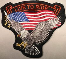 LIVE TO RIDE USA FLAG EAGLE EMBROIDERED MILITARY BIKER MOTORCYCLE PATCH P-26