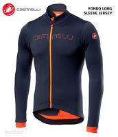 NEW Castelli FONDO Thermal Long Sleeve Cycling Jersey : DARK STEEL BLUE/ORANGE