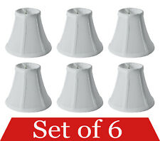 "Set of 6 Clip On 5"" Small Bell Candelabra Shades for Chandelier (White)"