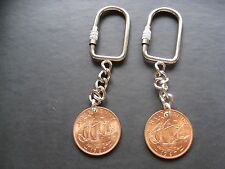 KeyChain for 7th Copper Wedding Anniversary With 1967 Halfpenny copper coin