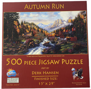 "Autumn Run Derk Hansen 15x29"" 500 piece puzzle Sunsout"