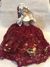 """ANTIQUE POWDER 1/2 HALF DOLL MADE IN FRANCE PORCELAIN CHINA VERY RARE 9"""" ON BOX"""