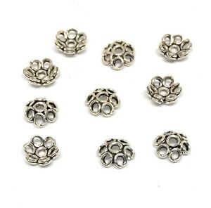 10 sterling silver bead caps 5mm oxidized flower
