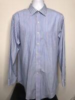 Brooks Brothers Mens 16.5-35 Blue Striped Slim Fit Non Iron Dress Shirt (C4)