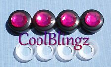 HOT PINK Rhinestone (on Black) Screw Caps Covers for Crystal License Plate Frame