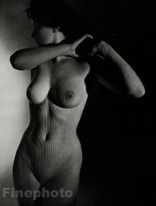 1950s ZOLTAN GLASS Vintage Female Nude Woman Surreal Mid Century Photo Engraving