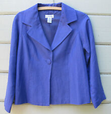 JG Hook Wm's 4P Petite Purple LS Swing Jacket Linen Blend Modern Fit