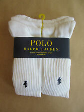 POLO RALPH LAUREN MENS WHITE COTTON SPORT SOCKS 6 PACK