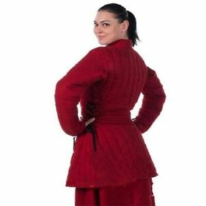 Medieval New Thick Padded Gambeson Red Aketon Armor Cotton