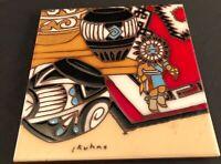 "Trivet KRIT Earthtones 6"" x 6"" Ceramic Decorative Tile Wall Hanging Signed"