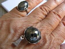 Ring + Anhänger, Set 925 Silber mit Hämatit. Zusammenpassend,