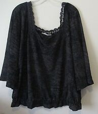 Womens Maurices Plus Size 2 2X Gray Square Neck Peasant Top 3/4 Sleeves Lace