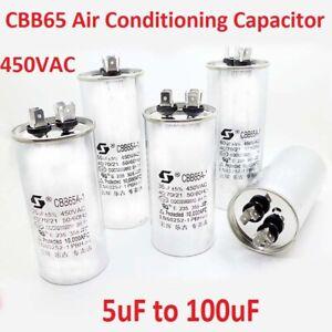 450VAC CBB65 Air Conditioning Compressor Start Run Capacitors 5uF 10uF to 100uF